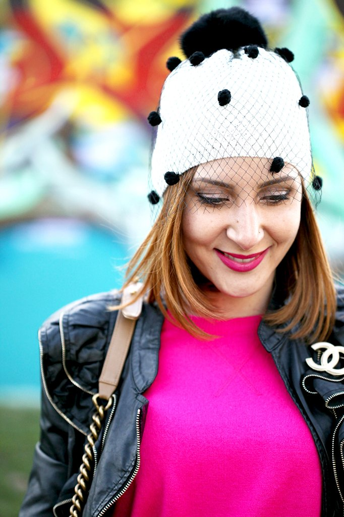 1-27-16-Blame-it-on-Mei-Fashion-Blogger-2016-White-Denim-Chanel-Small-Boy-Chanel-Brooch-Pink-Sweater-Black-Boots-Faux-Leather-Jacket-Tulle-Beanie