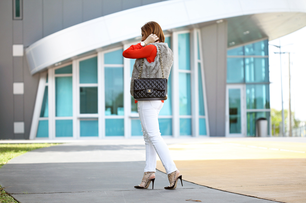 Blame-it-on-Mei-Miami-Fashion-Blogger-2016-Faux-Fur-Vest-Embellised-Blouse-White-Ripped-Denim-Baublebar-Ascher-Drops-Montblanc-Timewalker-Chanel-Classic-Valentino-Rockstud-Sandal