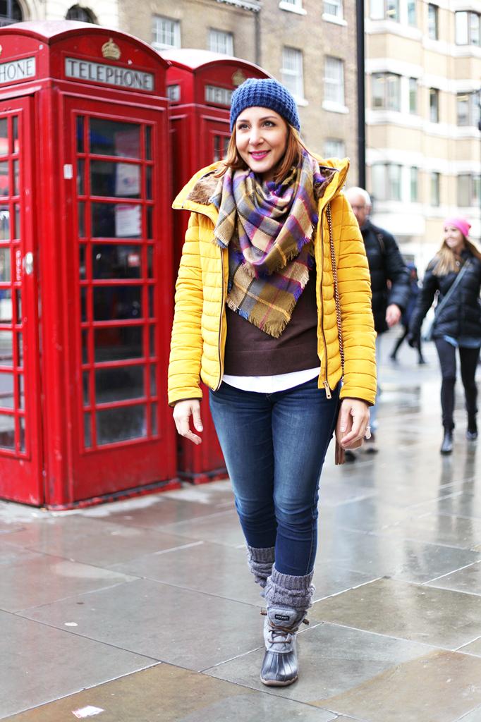 2-15-16-Blame-it-on-Mei-Fashion-Travel-Blogger-London-UK-Picadilly-Circus-Winter-Mustard-Yellow-Down-Coat-Checkerd-Blanket-Scarf-Blue-Pom-Pom-Beanie-Gucci-Soho-Crossbody