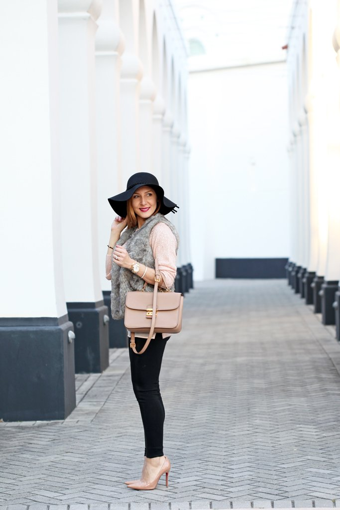 2-22-16-Blame-it-on-Mei-Fashion-Blogger-2016-Winter-Rose-Quartz-Sweater-Faux-Fur-Vest-Miu-Miu-Handbag-Mirina-Max-Statement-Necklace-Christian-Louboutin-Nude-Pumps-Coated-Leggings-Floppy-Hat