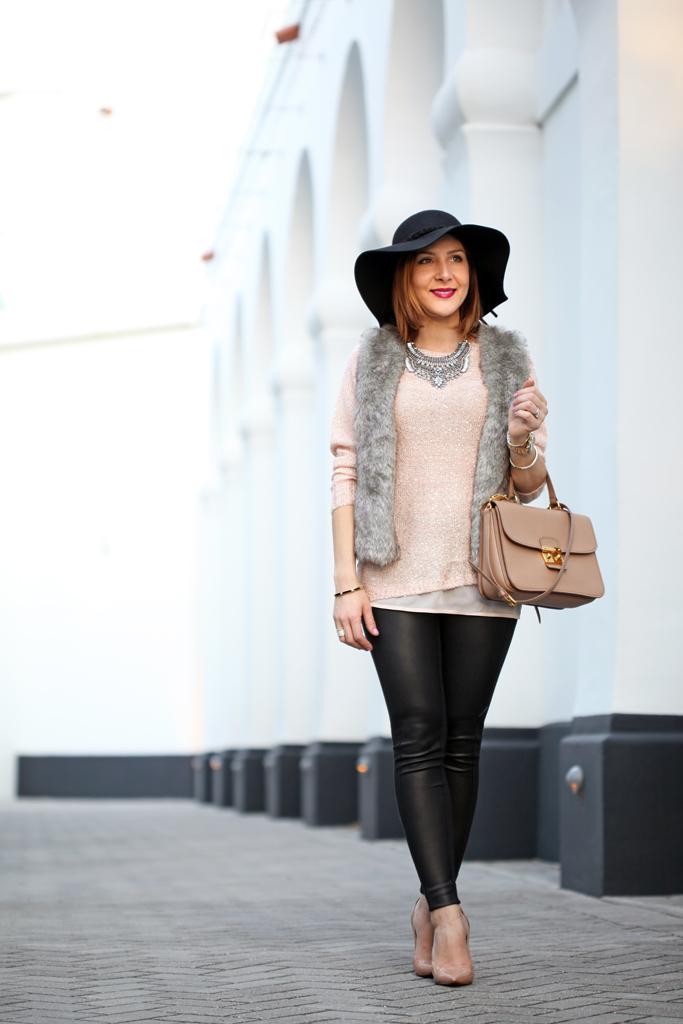 2-22-16-Blame-it-on-Mei-Fashion-Blogger-2016-Winter-Rose-Quartz-Sweater-Faux-Fur-Vest-Miu-Miu-Handbag-Mirina-Max-Statement-Necklace-Christian-Louboutin-Nude-Pumps-Coated-Leggings-Floppy-Hat