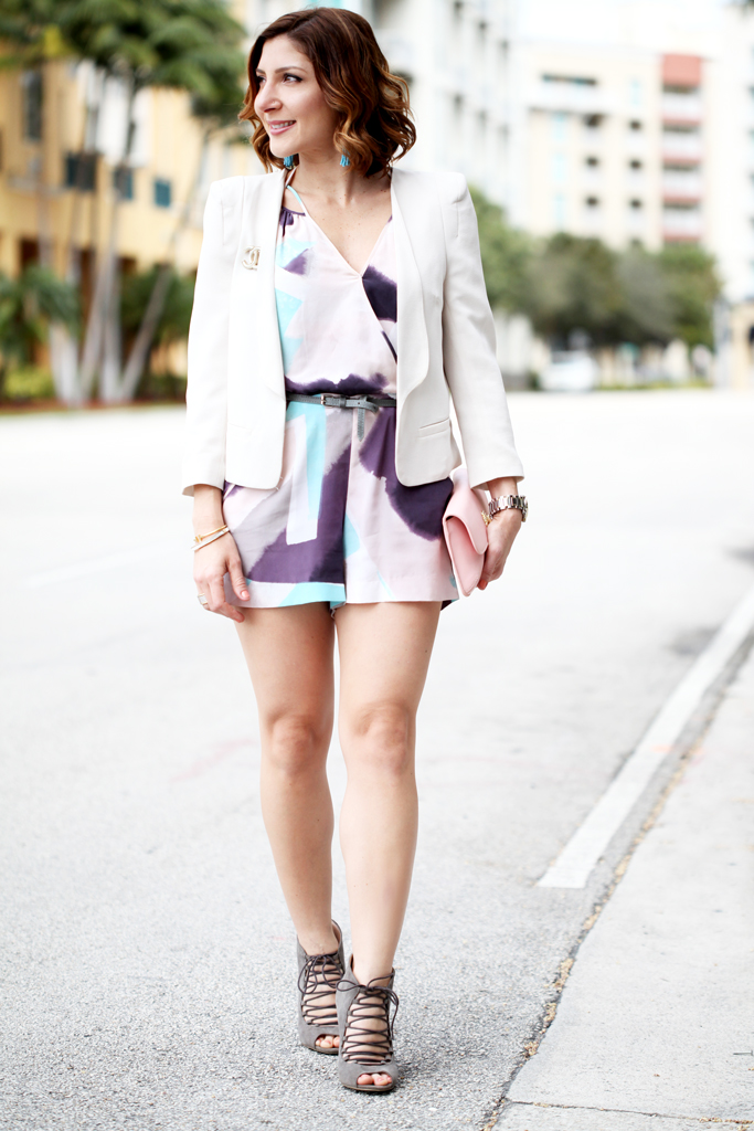 2-26-16-Blame-it-on-Mei-Miami-Fashion-Blogger-2016-Veuve-Clicquot-Carnaval-Cream-Blazer-Watercolor-Romper-Lace-Up-Wedges-Tory-Burch-Clutch-Soft-Waves-Baublebar-Tassel-Earrings-Chanel-Brooch