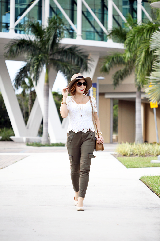 2-29-16-Blame-it-on-Mei-Fashion-Blogger-2016-Lace-Top-Military-Olive-Green-Pants-Chanel-Boy-Camel-Wedges-Wide-Rim-Hat-Express-Dainty-Necklace-D&G-Sunglasses
