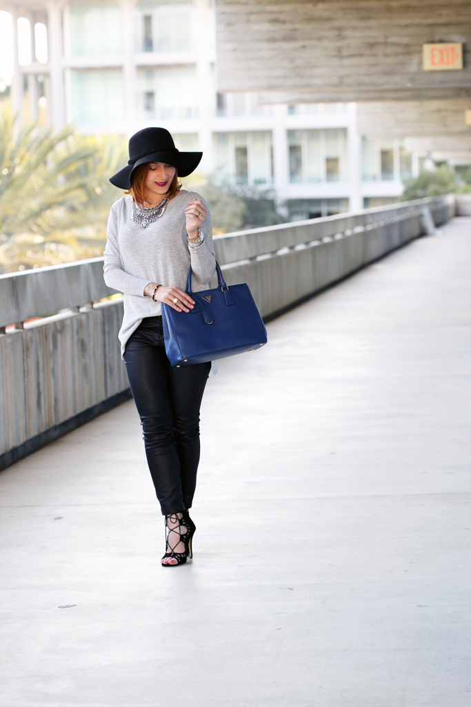 3-2-16-Blame-it-on-Mei-Miami-Fashion-Blogger-2016-Winter-Gray-Grey-Sweater-Mirina-Max-Statement-Necklace-Prada-Saffiano-Lux-Tote-Handbag-Lace-Up-Sandals-Coated-Jeans-Floppy-Hat