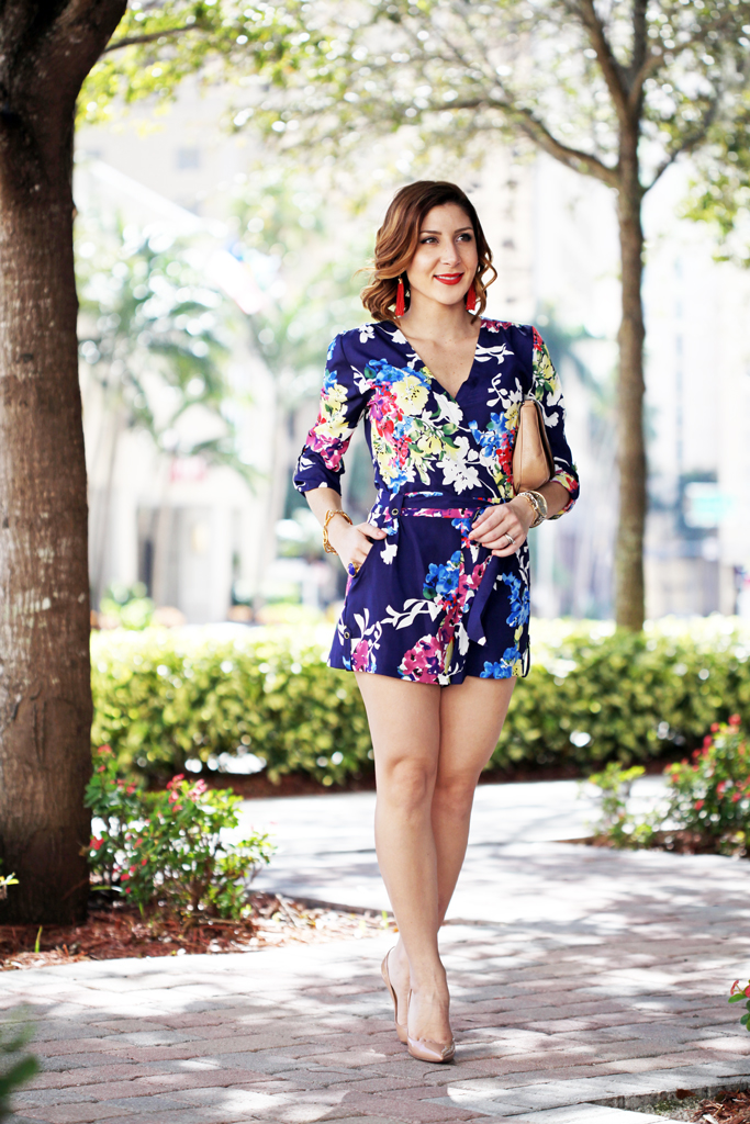 Blame-it-on-Mei-Miami-Fashion-Blogger-2016-Spring-Outfit-Floral-Romper-Gucci-Soho-Crossbody-Baublebar-Tassel-Earring-YSL-Arty-Ring-Louboutin-Nude-Pumps-Short-Soft-Waves