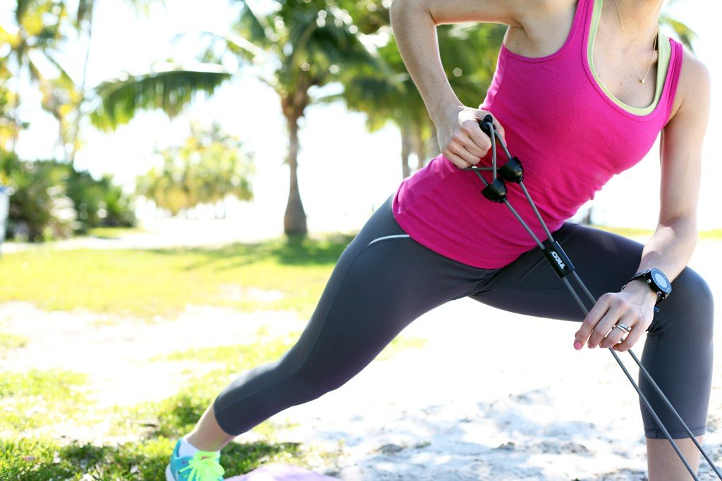 Blame-it-on-Mei-Miami-Fashion-Blogger-2016-Exercise-Fitness-Equipment-TKO-Resistance-Bands-Colorful-Workout-Outfit-Nike-Sneakers-Garmin-Watch