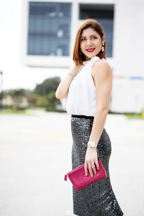Blame-it-on-Mei-Miami-Fashion-Blogger-2016-Wedding-Guest-Outfit-Idea-Inspiration-Sequin-Pencil-Skirt-Gucci-Fucshia-Clutch-Louboutin-Iriza-Pumps-Bow-Neck-Halter-Blouse-Baublebar-Ascher-Earrings