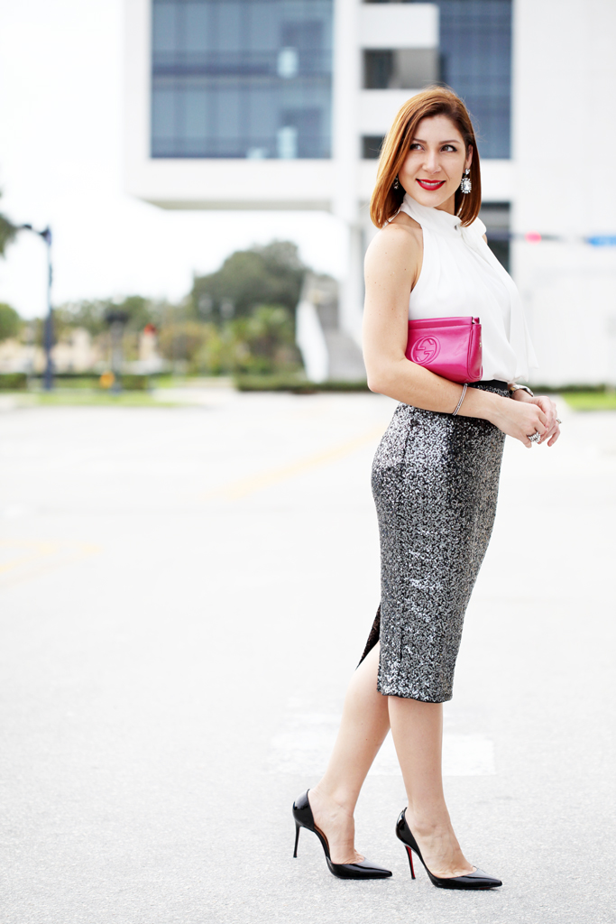 Blame-it-on-Mei-Miami-Fashion-Blogger-2016-Wedding-Guest-Outfit-Sequin-Pencil-Skirt-Gucci-Fucshia-Clutch-Louboutin-Iriza-Pumps-Bow-Neck-Halter-Blouse-Baublebar-Ascher-Earrings