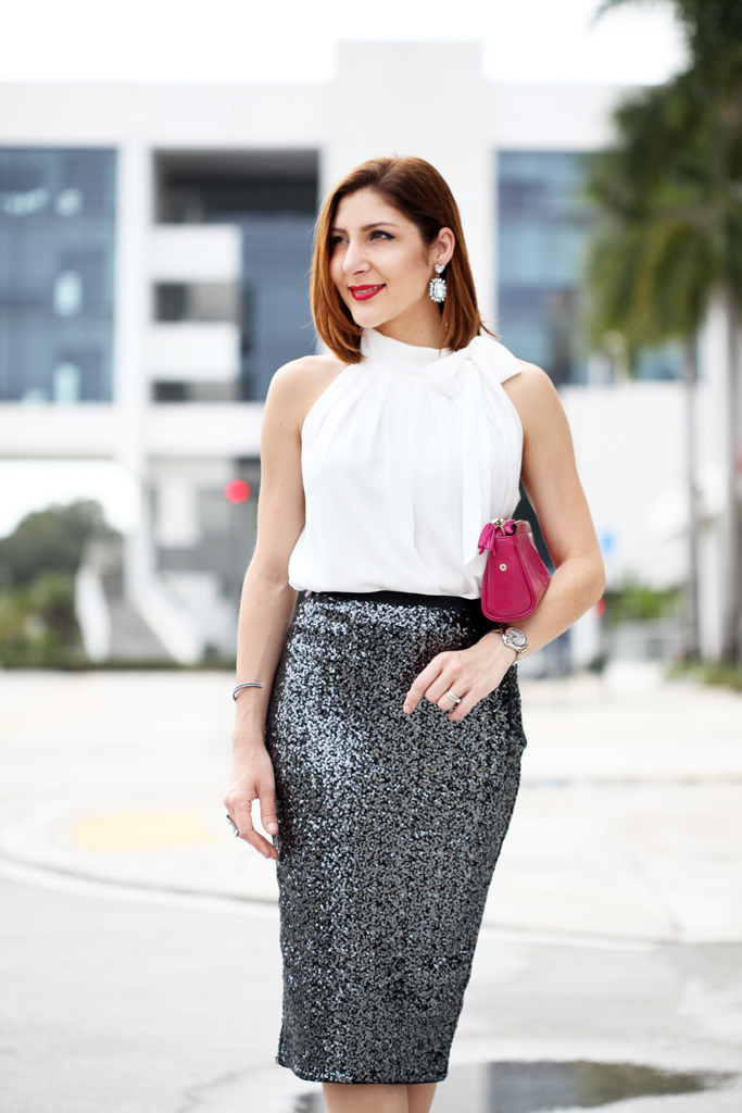 1455b95321c Bow it Pretty  Sequin Pencil Skirt   Bow Neck Blouse - Blame it on ...