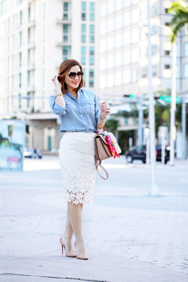 Blame-it-on-Mei-Miami-Fashion-Blogger-2016-Spring-Outfit-Chambray-Top-Lace-Pencil-Skirt-Miu-Miu-Handbag-Louboutin-Nude-Heels-Cateye-Sunglasses-YSL-Arty-Ring
