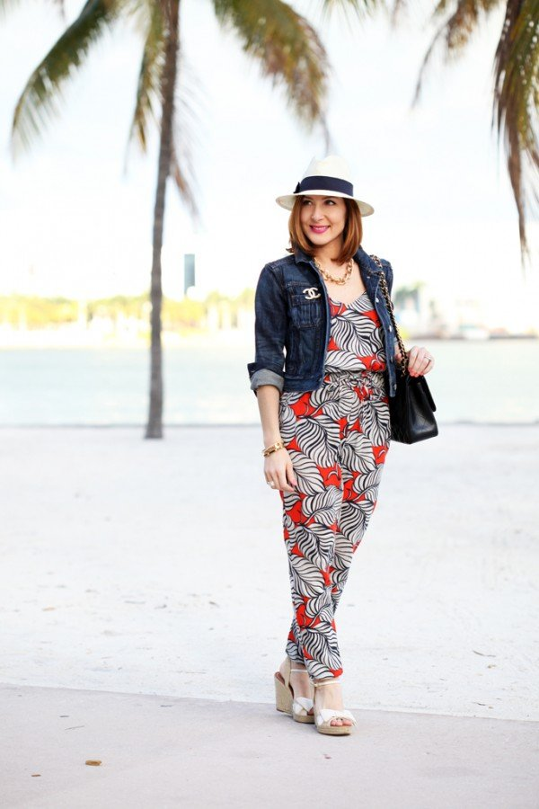Blame-it-on-Mei-Miami-Fashion-Blogger-2016-Spring-Outfit-Chanel-Classic-Flap-Brooch-Denim-Jacket-Palm-Tree-Jumpsuit-Panama-Hat-Bow-Wedges