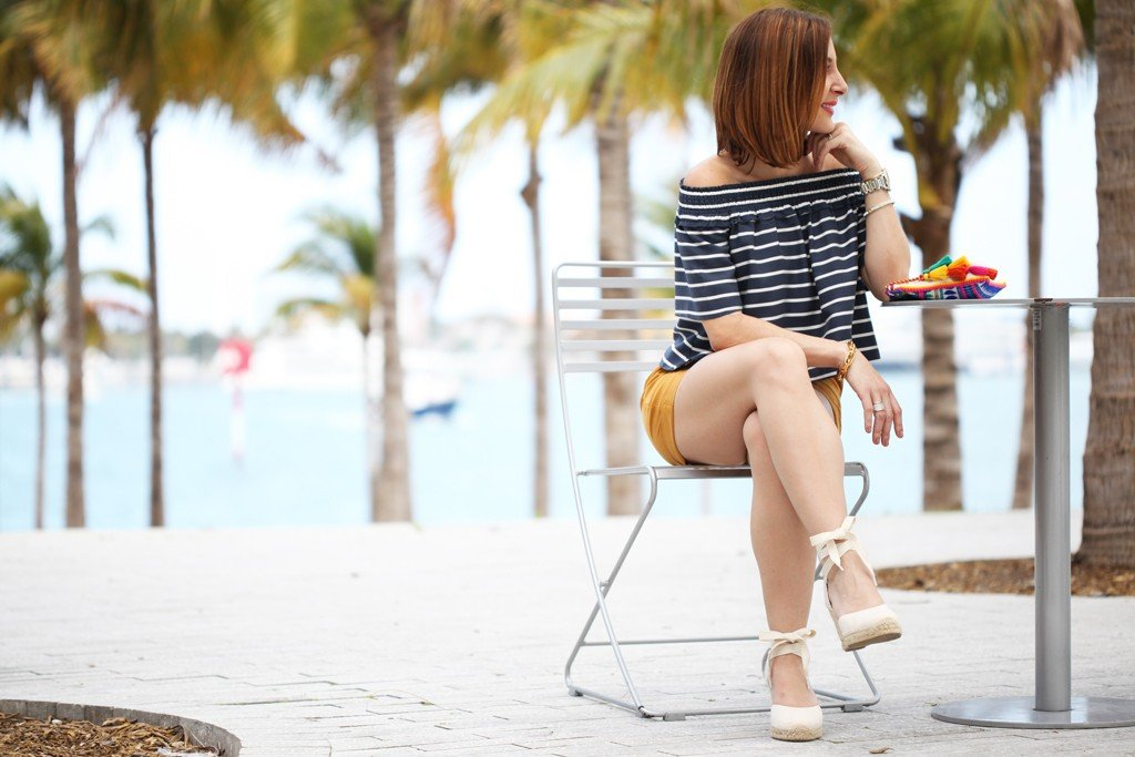 Blame-it-on-Mei-Miami-Fashion-Blogger-2016-Spring-Outfit-Idea-Look-Inspiration-Stripe-Off-The-Shoulder-Top-with-Yellow-Shorts-Soludos-Wedges