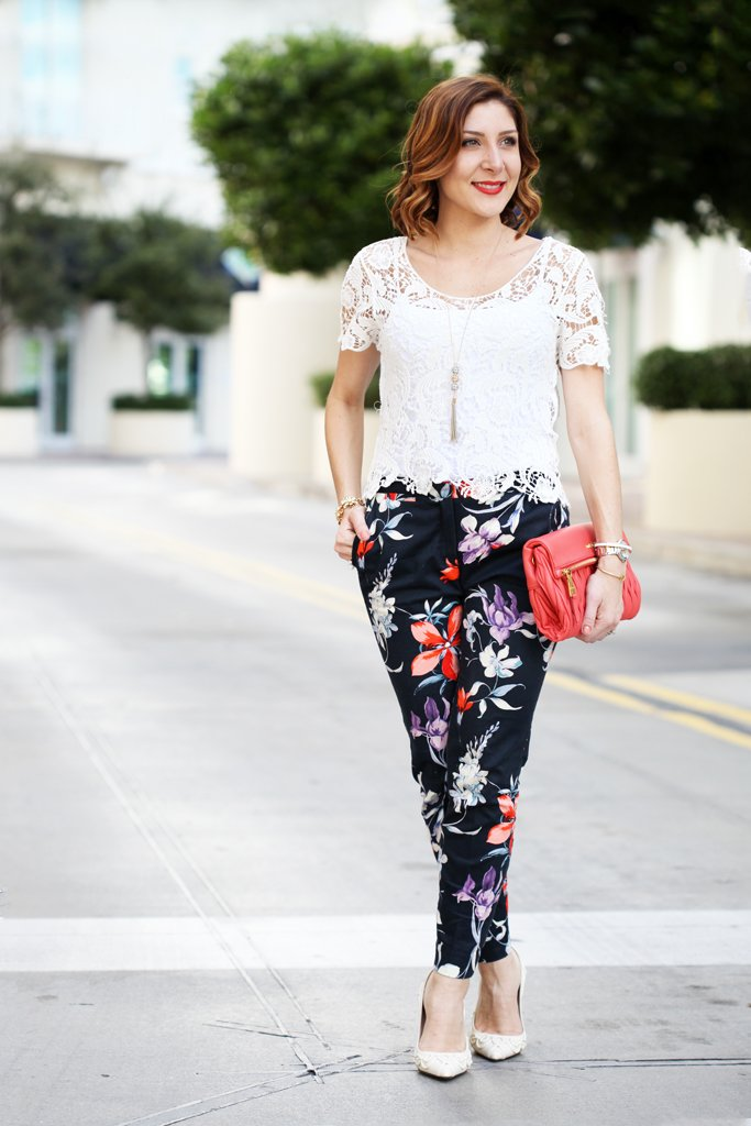 5a5941debe3 Marching Into Spring  Crochet Top + Floral Pants - Blame it on Mei ...