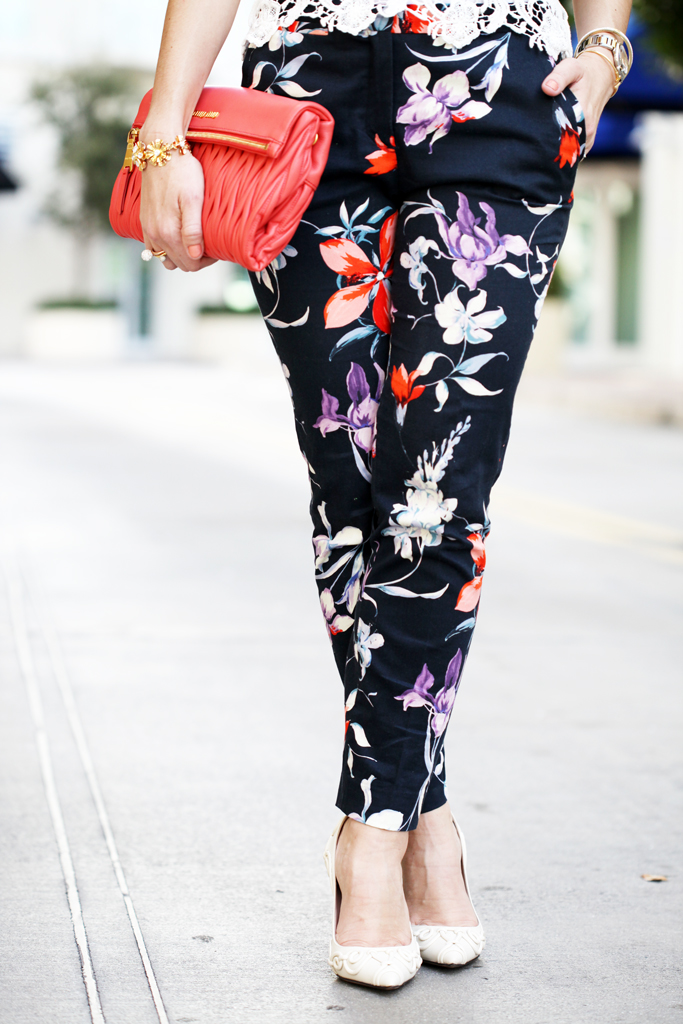 3-7-16-Blame-it-on-Mei-Miami-Fashion-Blogger-2016-Spring-Outfit-Floral-Trouser-Pants-Crochet-Lace-Top-Coral-Miu-Miu-Clutch-Cream-White-Pumps-Short-Hair-Soft-Waves