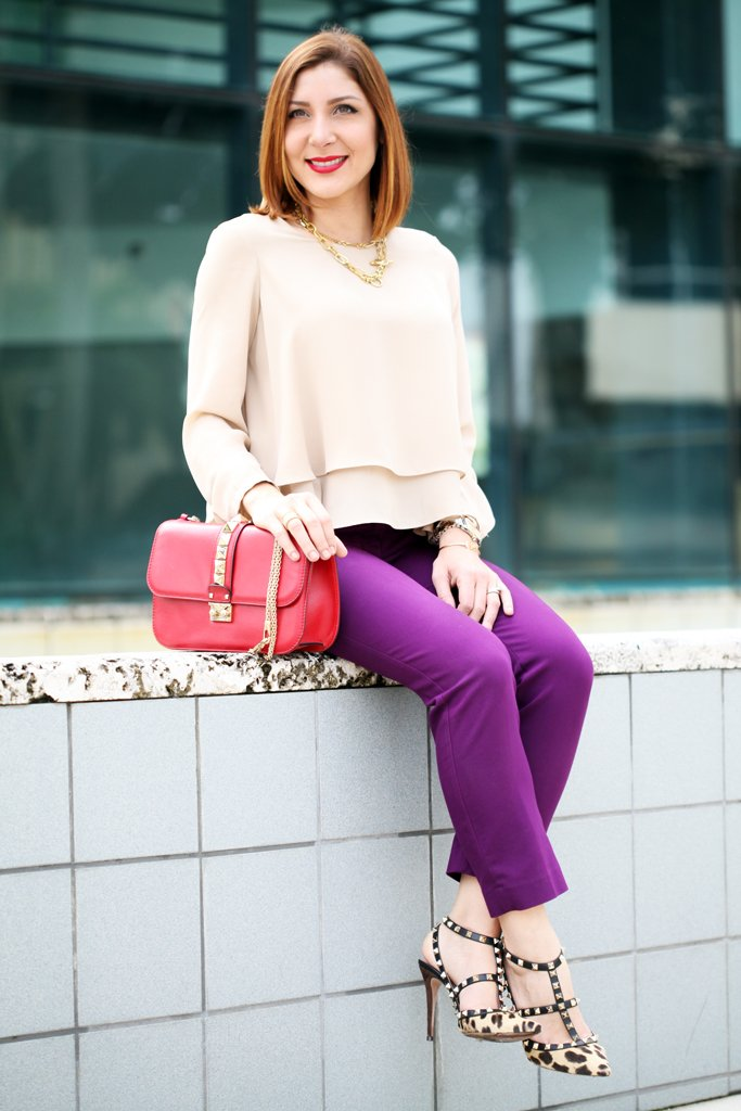 Color-Block Party: Leopard Pumps + Purple Trousers