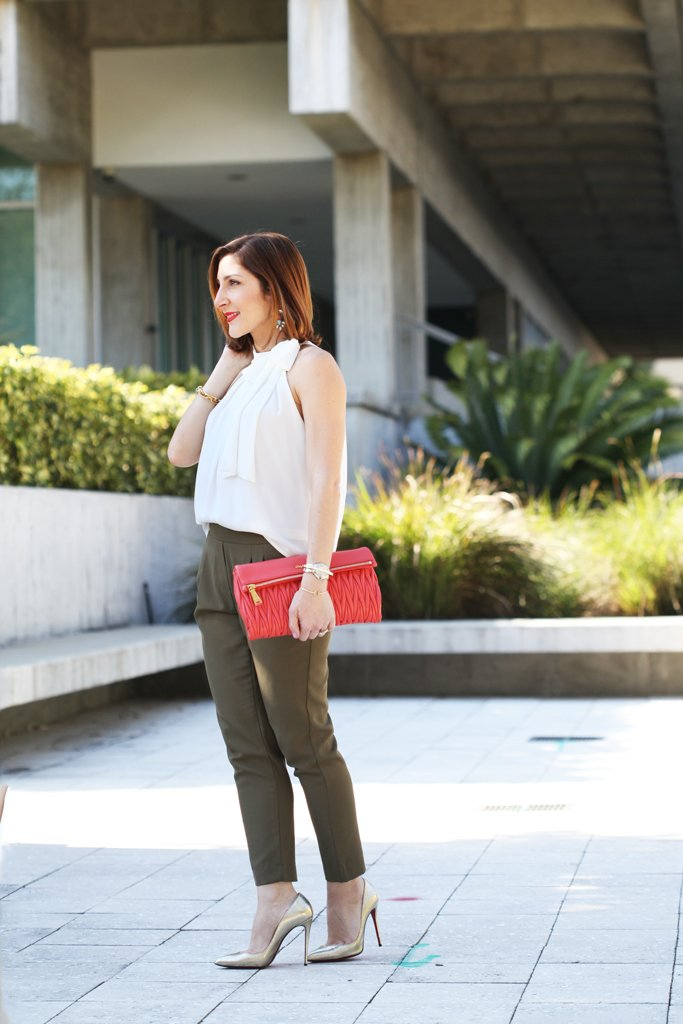 Blame-it-on-Mei-Miami-Fashion-Blogger-2016-Spring-Outfit-Idea-Olive-Green-Trouser-Pants-Bow-Neck-Blouse-Coral-Miu-Miu-Clutch-Metalic-Gold-Louboutin-Pumps-YSL-Arty-Ring