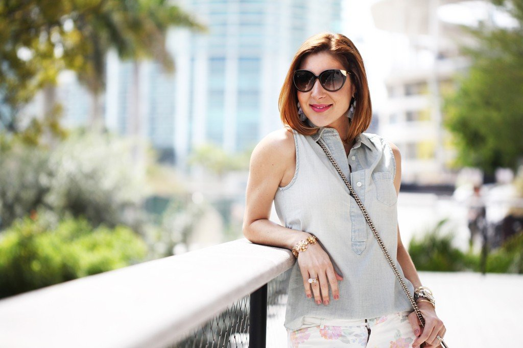 Blame-it-on-Mei-Miami-Fashion-Blogger-2016-Spring-Outfit-Idea-Look-Inspiration-Pastel-Floral-Print-Chambray-Top-Gucci-Soho-Crossbody-Chanel-CC-Flats-Baublebar-Ellis-Earings