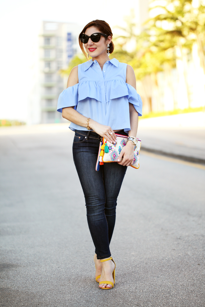 Blame-it-on-Mei-Miami-Fashion-Blogger-2016-Spring-Outfit-Idea-Look-Inspiration-Ruffle-Cold-Shoulder-Top-With-Denim-Jeans-Canvas-Clutch-Yellow-Strappy-Sandals-Miu-Miu-Cat-Eye