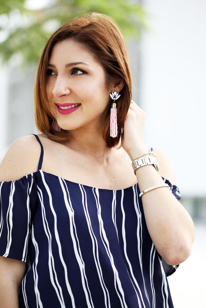 Blame-it-on-Mei-Miami-Fashion-Blogger-2016-Spring-Outfit-Idea-Look-Off-The-Shoulder-Romper-Stripe-Romper-Tory-Burch-Diana-Clutch-Baublebar-Acid-Fringe-Tassel-Earrings