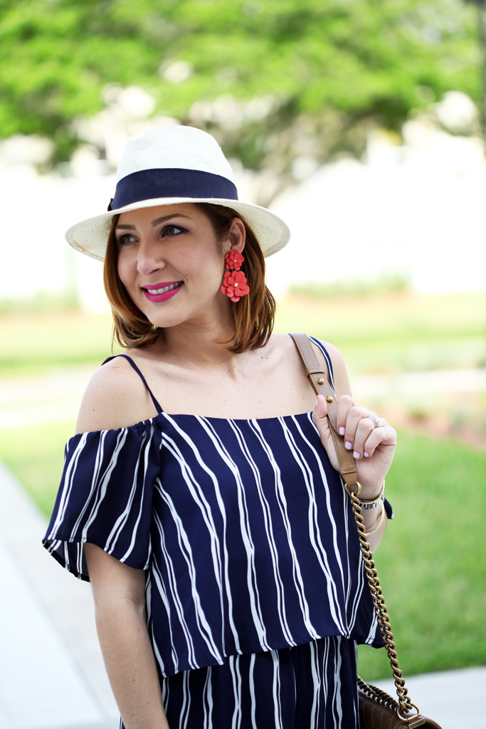 Blame-it-on-Mei-Miami-Fashion-Blogger-2016-Spring-Outfit-Idea-Look-Inspiration-Off-The-Shoulder-Romper-Navy-Stripe-Romper-Chanel-Boy-Lace-Up-Sandals-Baublebar-Zoe-Flower-Earrings