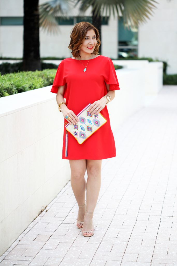 Blame-it-on-Mei-Miami-Fashion-Blogger-2016-Spring-Outfit-Idea-Look-Open-Back-Red-Dress-Ruffles-Frills-Embroidered-Canvas-Clutch-Rocksbox-Turquoise-Pendant-Necklace-YSL-Turquoise-Arty-Ring