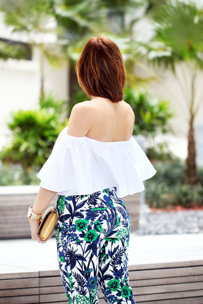 Blame-it-on-Mei-Miami-Fashion-Blogger-2016-Spring-Outfit-Idea-Look-Off-The-Shoulder-Top-Green-Pendant-Necklace-LV-Metallic-Gold-YSL-Floral-Pants-Jewel-Emerald-Ring