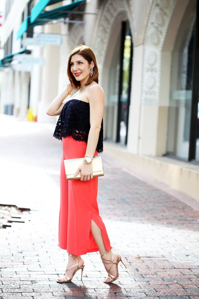 Blame-it-on-Mei-Miami-Fashion-Blogger-2016-Spring-Outfit-Idea-Look-How-To-Culottes-With-Slit-Lace-Strapless-Top-LV-Metallic-Clutch-Louboutin-Gold-Sandals-YSL-Turquoise-Arty-Ring