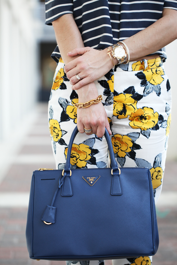 Blame-it-on-Mei-Miami-Fashion-Blogger-2016-Spring-Outfit-Idea-Look-Stripe-Off-The-Shoulder-Top-Floral-Pants-Prada-Navy-Handbag-Baublebar-Flower-Geranium-Stud-Earrings-Mixing-Patterns