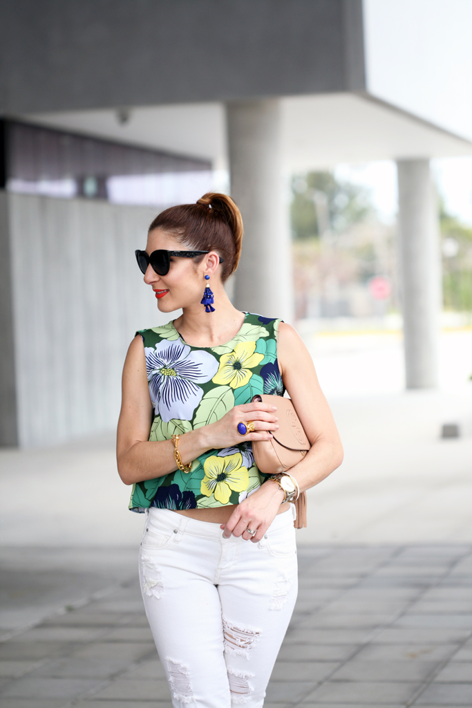 Blame-it-on-Mei-Miami-Fashion-Blogger-2016-Spring-Casual-Outfit-Idea-Brunch-Look-Inspiration-Bright-Floral-Crop-Top-Open-Back-White-Denim-Gucci-Soho-Crossbody-Baublebar-Tassel-Earings