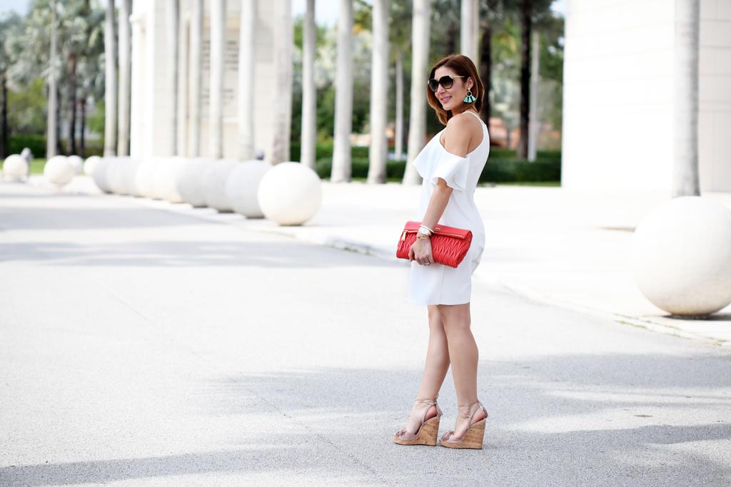 5-11-16-Blame-it-on-Mei-Miami-Fashion-Blogger-2016-Spring-Outfit-Look-Off-The-Shoulder-Dress-Miu-Miu-Coral-Clutch-Baublebar-Honolulu-Tassel-Earrings-Aquazzura-Wild-One-Tassel-Wedges-1-1024