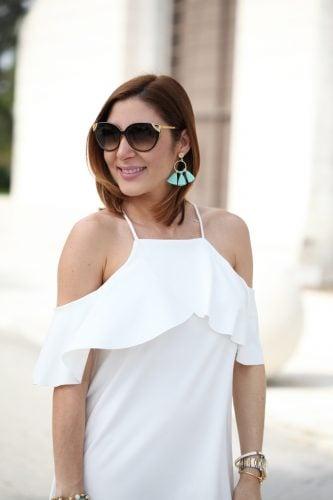 Blame-it-on-Mei-Miami-Fashion-Blogger-2016-Spring-Outfit-Look-Off-The-Shoulder-Dress-Miu-Miu-Coral-Clutch-Baublebar-Honolulu-Tassel-Earrings-Aquazzura-Wild-One-Tassel-Wedges