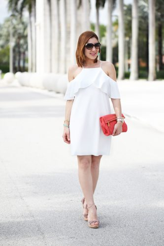 Blame-it-on-Mei-Miami-Fashion-Blogger-2016-Spring-Outfit-Look-Off-The-Shoulder-Dress-Miu-Miu-Coral-Clutch-Baublebar-Honolulu-Tassel-Earrings-Aquazzura-Wild-One-Tassel-Wedges