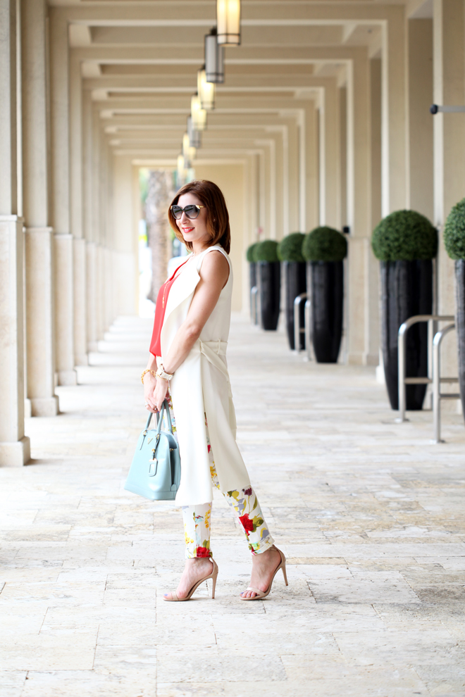 Blame-it-on-Mei-Miami-Fashion-Blogger-2016-Spring-Outfit-Look-Long-White-Vest-Blue-Prada-Handbag-Floral-Pant-Baublebar-Tassel-Louis-Vuitton-Cat-Eye-Sunglasses-Steve-Madden-Stecy