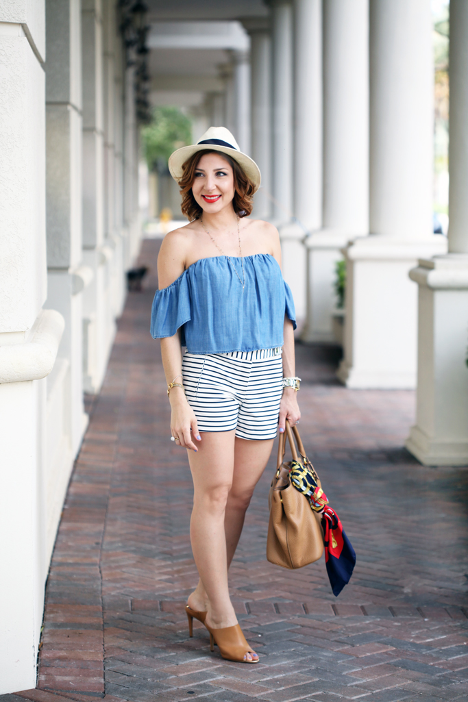 Blame-it-on-Mei-Miami-Fashion-Blogger-2016-Spring-Outfit-Look-Chambray-Off-The-Shoulder-Top-Stripe-Shorts-Panama-Hat-Calvin-Klein-Nola-Mules-Hermes-Scarf-On-Prada-Handbag-Y-Necklace-MAC-So-Chaud