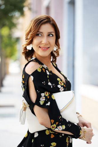 Blame-it-on-Mei-Miami-Fashion-Blogger-2016-Spring-Outfit-Look-Floral-Dress-White-Henri-Bendel-Debutante-Tassel-Clutch-Baublebar-Geranium-Earrings-Steve-Madden-Carrson-Yellow-Sandals