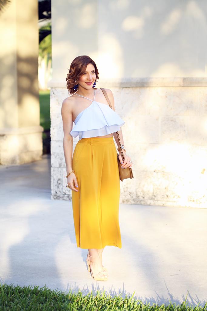 Blame-it-on-Mei-Miami-Fashion-Blogger-2016-Spring-Outfit-Look-Ruffle-Crop-Top-Wide-Trouser-Chanel-Boy-Aquazzura-Wild-One-Wedge-Tassel-Earrings-Soft-Waves-Short-Hair