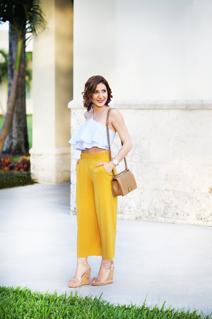 Blame-it-on-Mei-Miami-Fashion-Blogger-2016-Spring-Outfit-Look-Ruffle-Crop-Top-Wide-Trouser-Chanel-Boy-Aquazzura-Wild-One-Wedge-Tassel-Earrings-Soft-Waves-Short-Hair