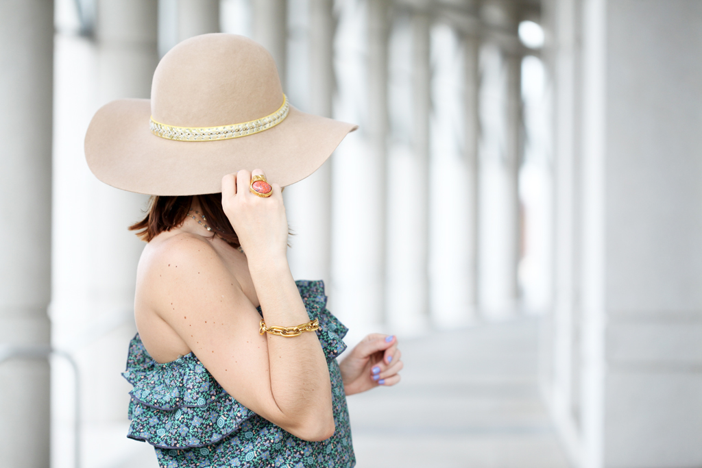 Blame-it-on-Mei-Miami-Fashion-Blogger-2016-Spring-Outfit-Look-Floral-Jumpsuit-Blue-Prada-Floppy-Hat-Stecy-Sandals-Rolex-Tiffany-T-Wire-Bracelet-Gucci-Handkerchief