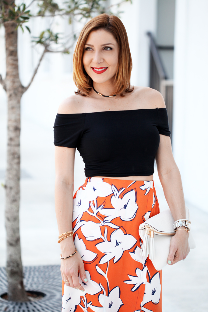 Blame-it-on-Mei-Miami-Fashion-Blogger-2016-Spring-Outfit-Look-Off-The-Shouder-Crop-Top-Floral-Wide-Trouser-Henri-Bendel-Debutante-Clutch-Choker