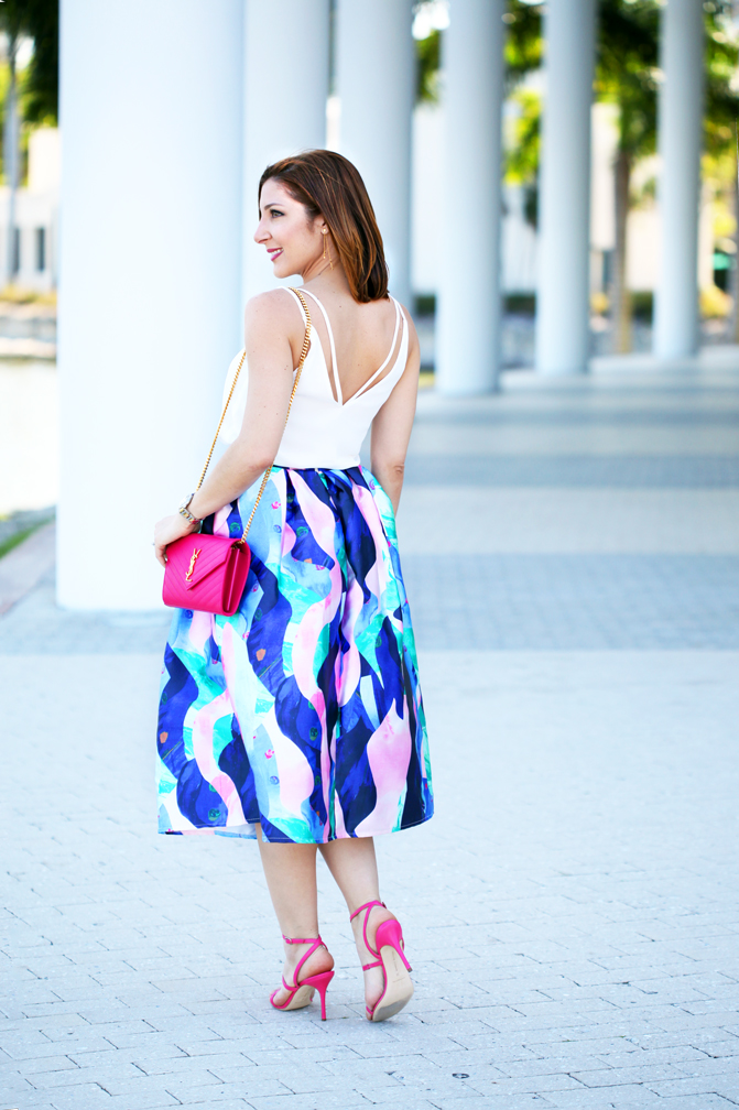 Blame-it-on-Mei-Miami-Fashion-Blogger-2016-Spring-Outfit-Wedding-Guest-Look-Chicwish-Marine-Fantasia-Midi-Skirt-YSL-Pink-Clutch-Manolo-Blahnink-Strappy-Sandals-Heels-YSL-Arty-Ring