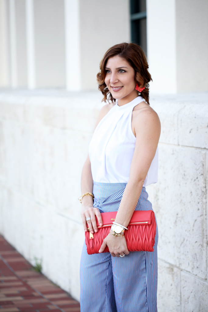 Blame-it-on-Mei-Miami-Fashion-Blogger-2016-Spring-Outfit-Look-Halter-Top-Bow-Stripe-Culotte-Baublebar-Zoe-Flower-Earrings-Miu-Miu-Coral-Clutch-Blush-Sandal-Soft-Waves-on-Short-Hair