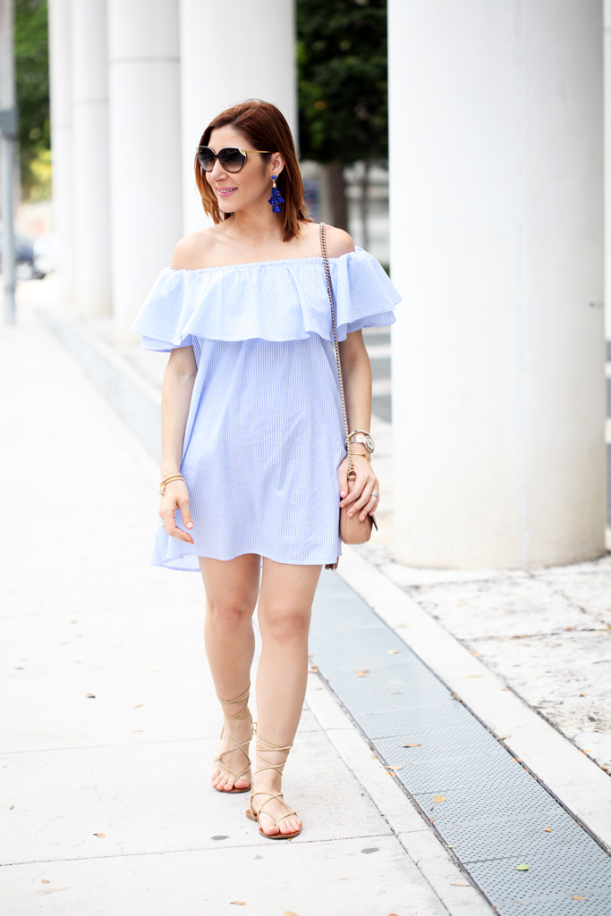 5-6-16-Blame-it-on-Mei-Miami-Fashion-Blogger-2016-Spring-Outfit-Look-Off-The-Shoulder-Dress-Stripes-Baublebar-Cannes-Earrings-Gucci-Soho-Crosbody-Lace-Up-Sandal-Miniature-Pinscher-4-1024