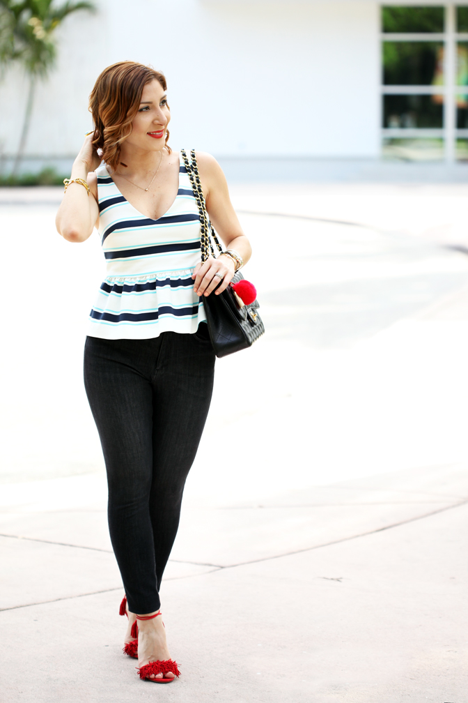 Blame-it-on-Mei-Miami-Fashion-Blogger-2016-Spring-Outfit-Look-Turquoise-YSL-Arty-Ring-Stripe-Peplum-Chanel-Classic-Aquazzura-Wild-Thing-Red-Soft-Waves-on-Short-Hair