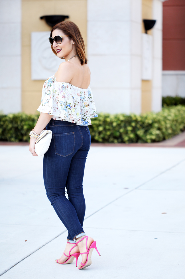 Blame-it-on-Mei-Miami-Fashion-Blogger-2016-Spring-Outfit-Off-The-Shoulder-Embroidered-Top-Henri-Bendel-Debutante-Clutch-Manolo-Blahnink-Strappy-Sandals-Heels-YSL-Arty-Ring