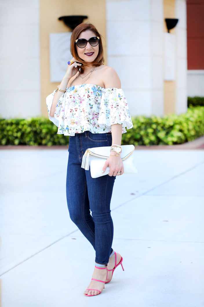 6-1-16-Blame-it-on-Mei-Miami-Fashion-Blogger-2016-Spring-Outfit-Off-The-Shoulder-Embroidered-Top-Henri-Bendel-Debutante-Clutch-Manolo-Blahnink-Strappy-Sandals-Heels-YSL-Arty-Ring-7-1024