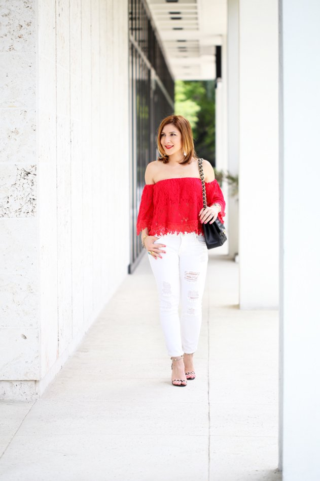 Blame-it-on-Mei-Miami-Fashion-Blogger-2016-Spring-Look-Summer-Outfit-Red-Crochet-Lace-Off-The-Shoulder-Valentino-Rockstud-Sandals-Chanel-Classic-White-Jeans-Tassel-Earrings