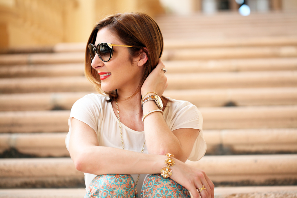 Blame-it-on-Mei-Miami-Fashion-Blogger-2016-Spring-Look-Summer-Casual-Outfit-Biltmore-Culinary-Academy-Parmigiano-Reggiano-Valentino-Rockstud-Flats-Cat-Eye-Sunglasses-Coral-Clutch