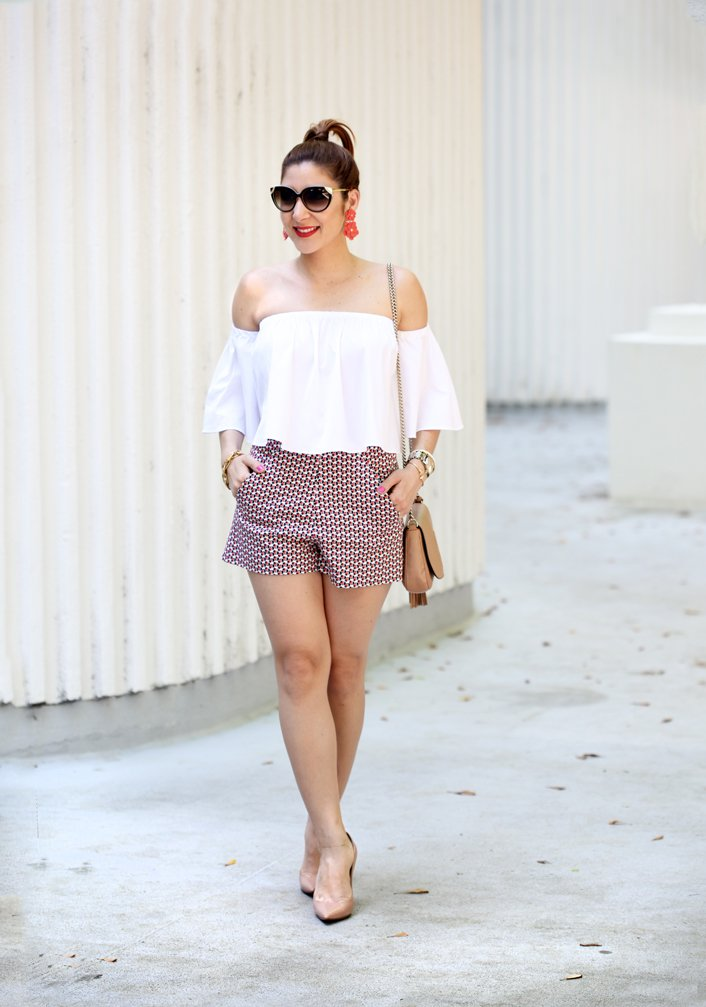 Blame-it-on-Mei-Miami-Fashion-Blogger-2016-Summer-Outfit-Look-Off-The-Shoulder-With-Shorts-Louboutin-Blush-Decollete-Pumps-Gucci-Soho-Baublubar-Zoe-Flower-Earrings