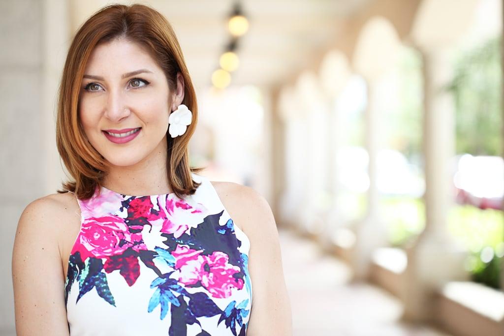 Blame-it-on-Mei-Miami-Fashion-Blogger-2016-Summer-Outfit-Shein-Floral-Dres-Blahnik-Didi-Sandals-YSL-Fuscia-Clutch-Baublubar-Flower-Geranium-Earrings