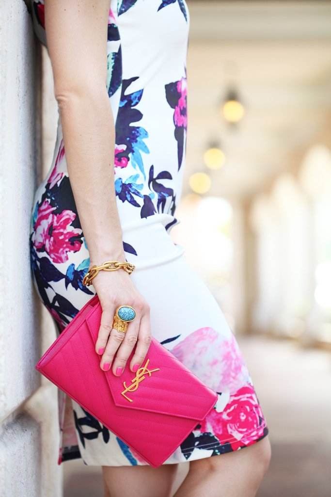 Blame-it-on-Mei-Miami-Fashion-Blogger-2016-Summer-Outfit-Shein-Floral-Dres-Blahnik-Didi-Sandals-YSL-Fuscia-Clutch-Baublubar-Flower-Geranium-Earrings